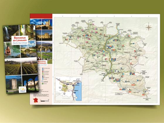 """<span style=""""color: #94ba49;"""">COMMUNAUTÉ DE COMMUNES <br>DU LIMOUXIN </span><br>Carte touristique <br>"""