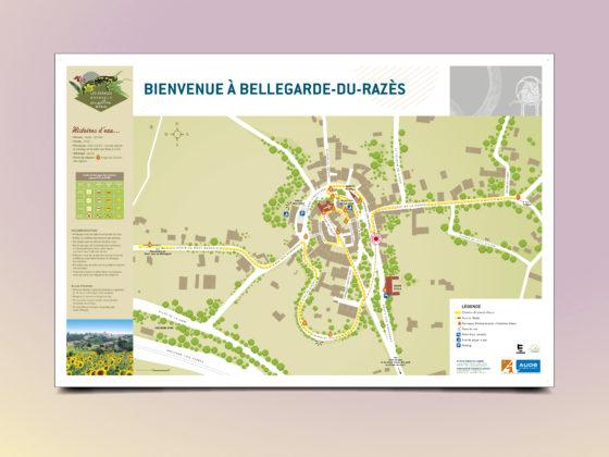 """<span style=""""color: #94ba49;"""">BELLEGARDE-DU-RAZÈS </span><br>Plan <br>cœur de village <br>"""
